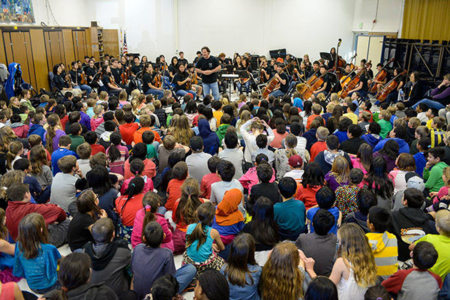 Orchestra outreach concert at a local elementary school