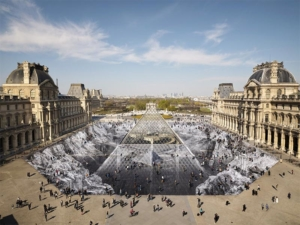 Temporary paper optical illusion collage - entrance Courtyard of the Musée du Louvre