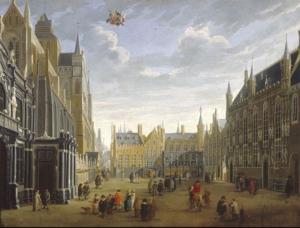 'The Burg, Bruges', J B van Meunincxhove, c.1700.