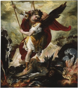 'The Archangel Michael Vanquishing Lucifer', Francesco Maffei,1656